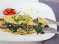 Ideálně zdravá snídaně s hlívou a špenátem