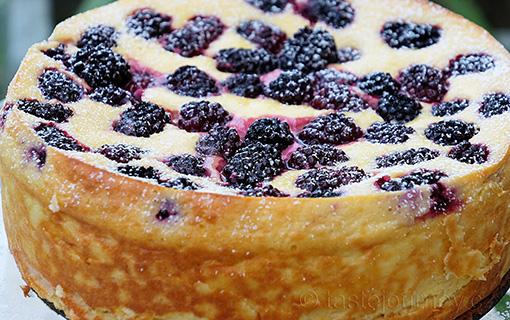 Tvarohový dort s ostružinami bez mouky
